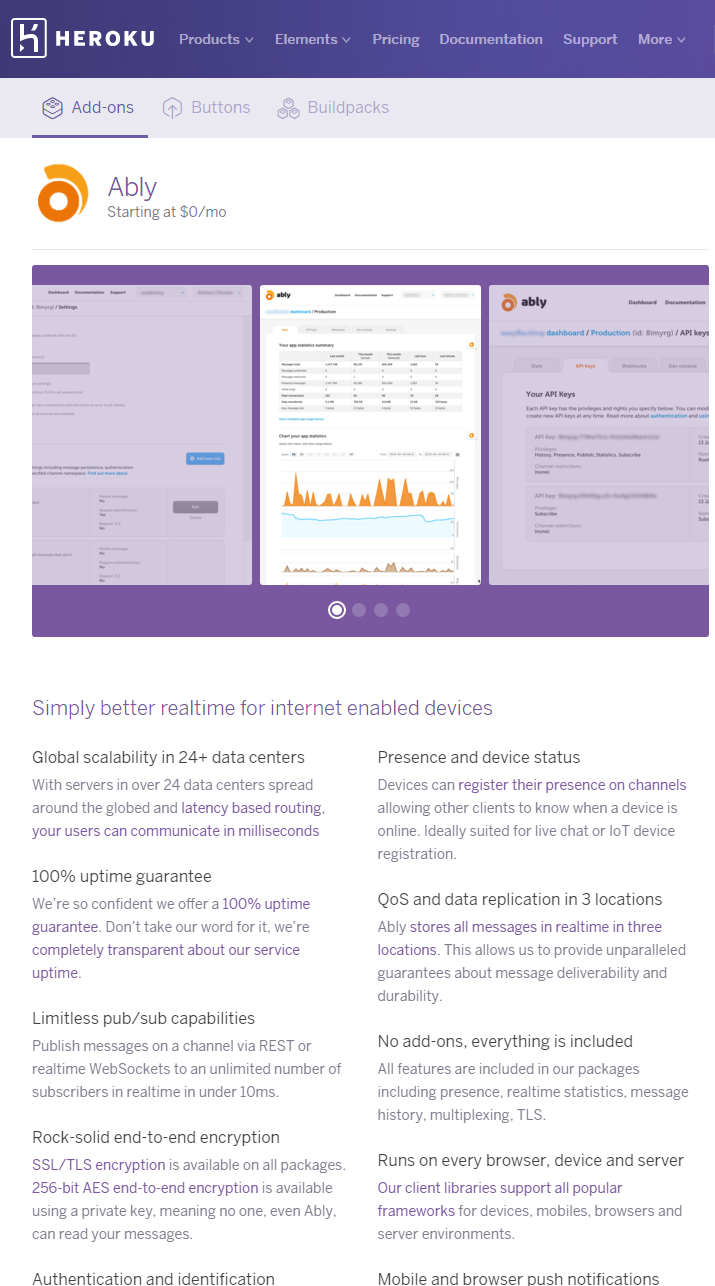 Ably realtime platform now available as Heroku add-on