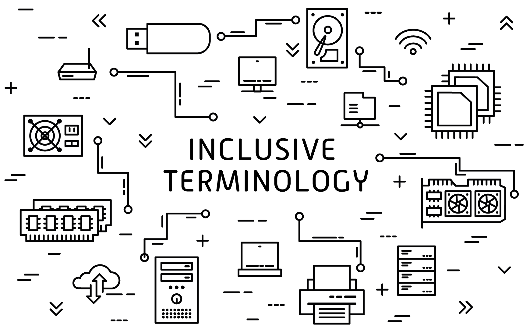 "A graphic depicting technology and the phrase ""inclusive terminology"""