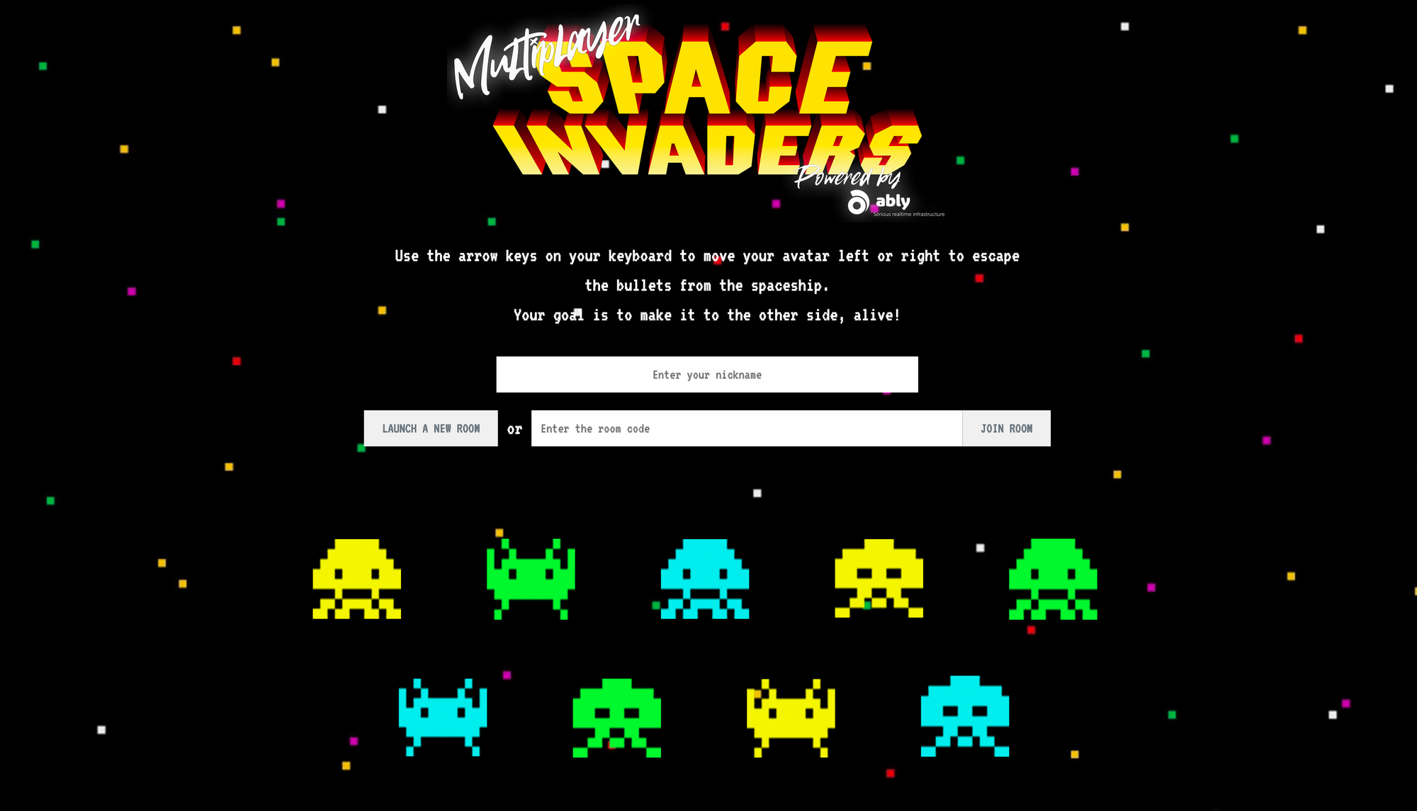 An image of the multiplayer Space Invaders game built over Websockets using Ably
