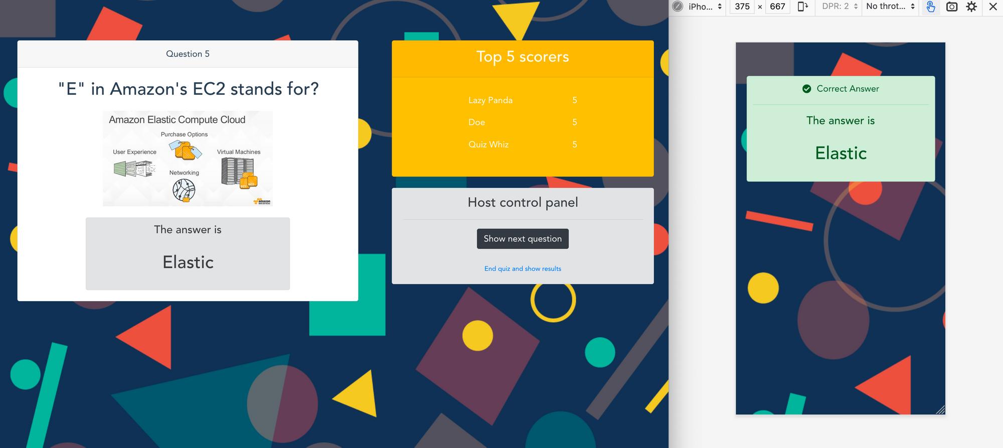 A screenshot of the live quiz application