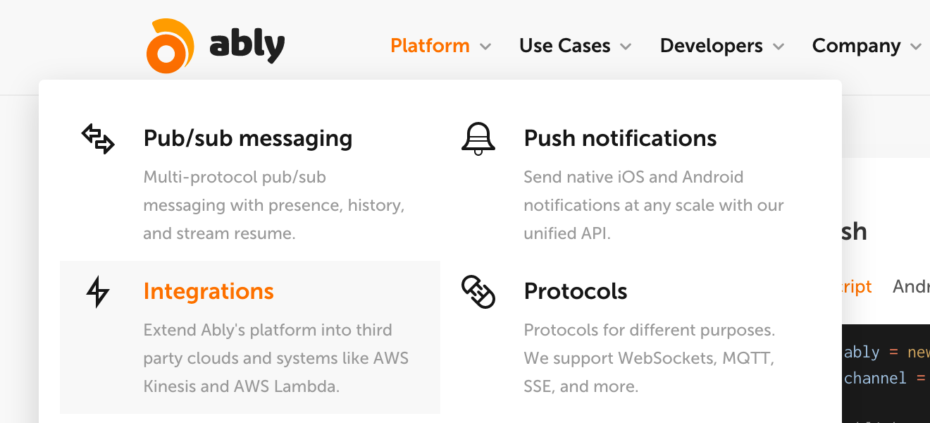 Ably has many ways to extend the platform, including WebHooks