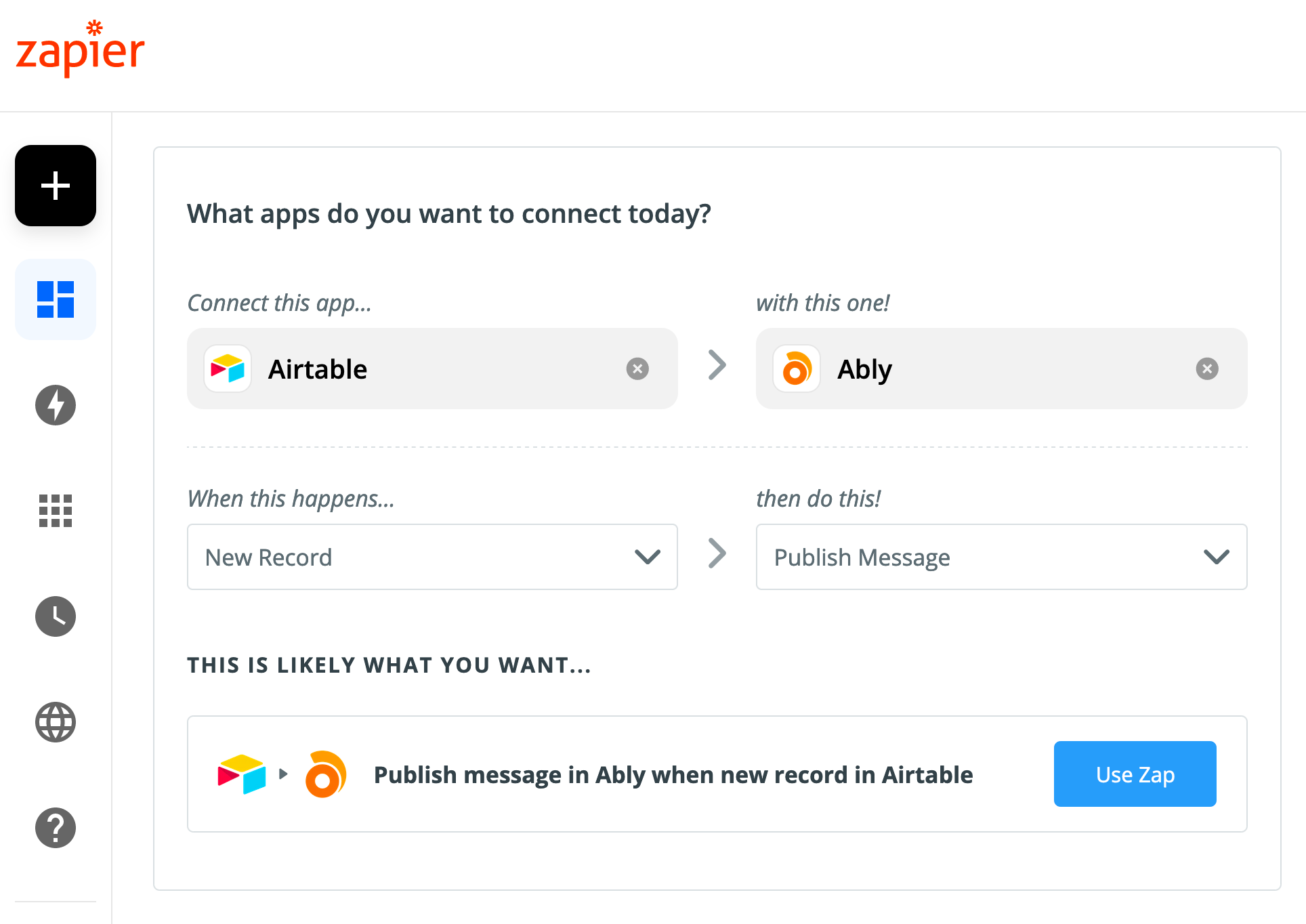 Using Zapier and Ably to convert Airtable into a realtime database
